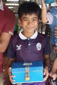 Engineer in Cambodia Samnang and his moneybox